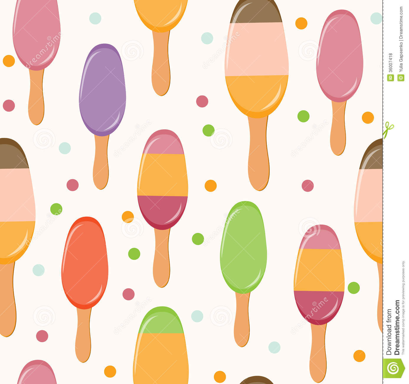 Ice Cream Wallpapers For Desktop: Retro Ice Cream Seamless Pattern Background. Stock Vector