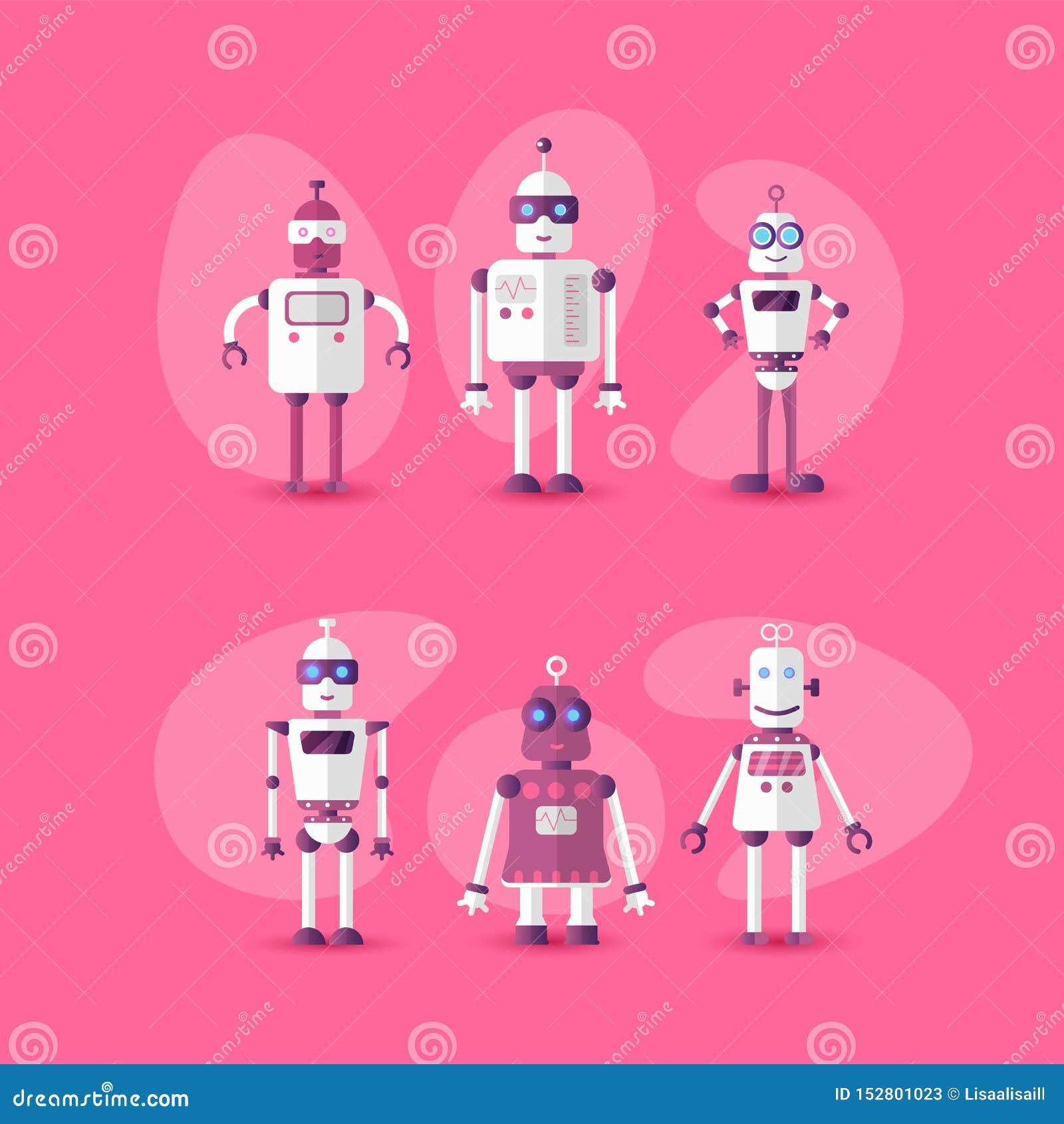 Retro icona divertente d annata dell insieme del robot di vettore nello stile piano isolata su fondo rosa Icona piana moderna di