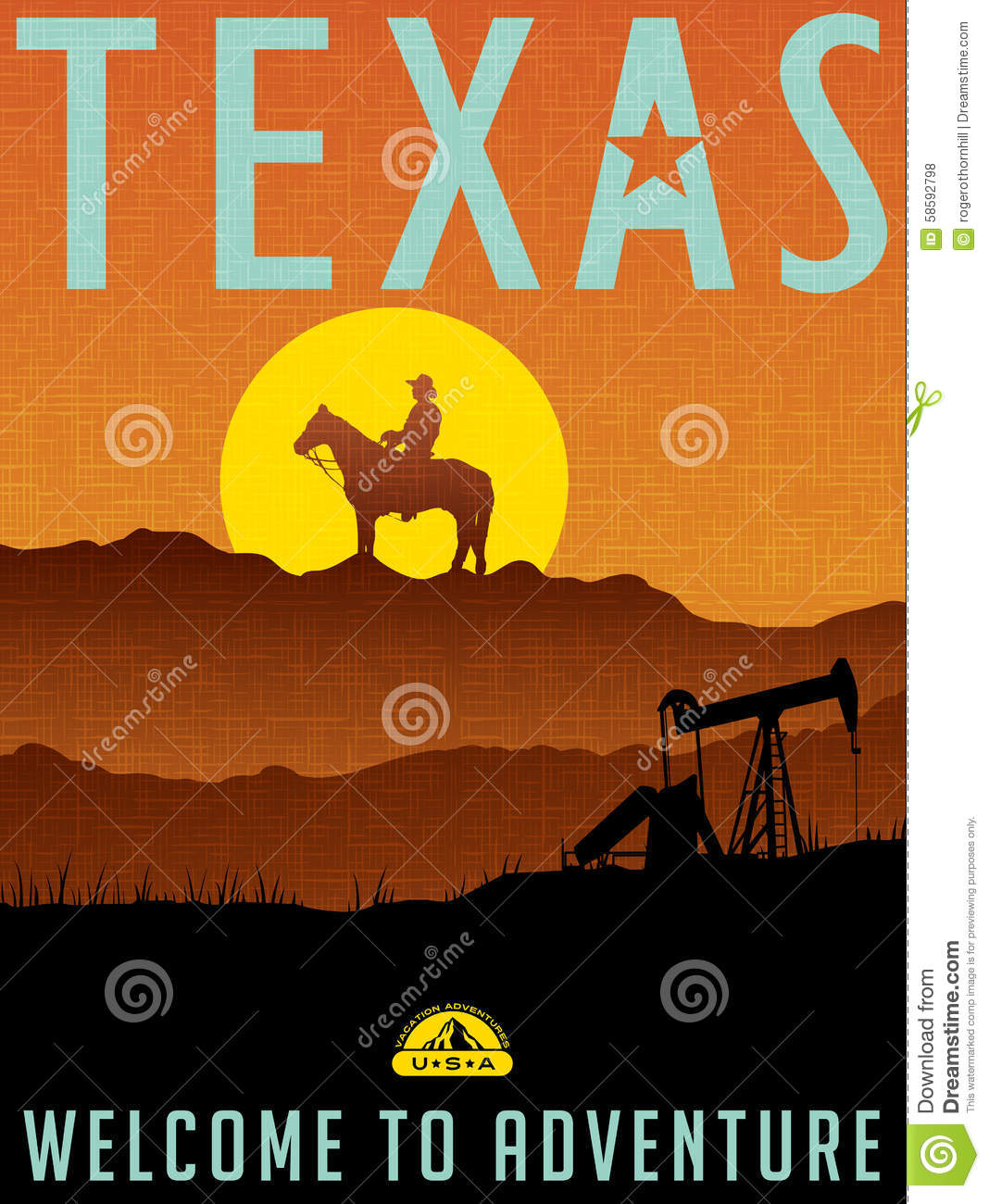 Retro Illustrated Travel Poster For Texas Stock Vector