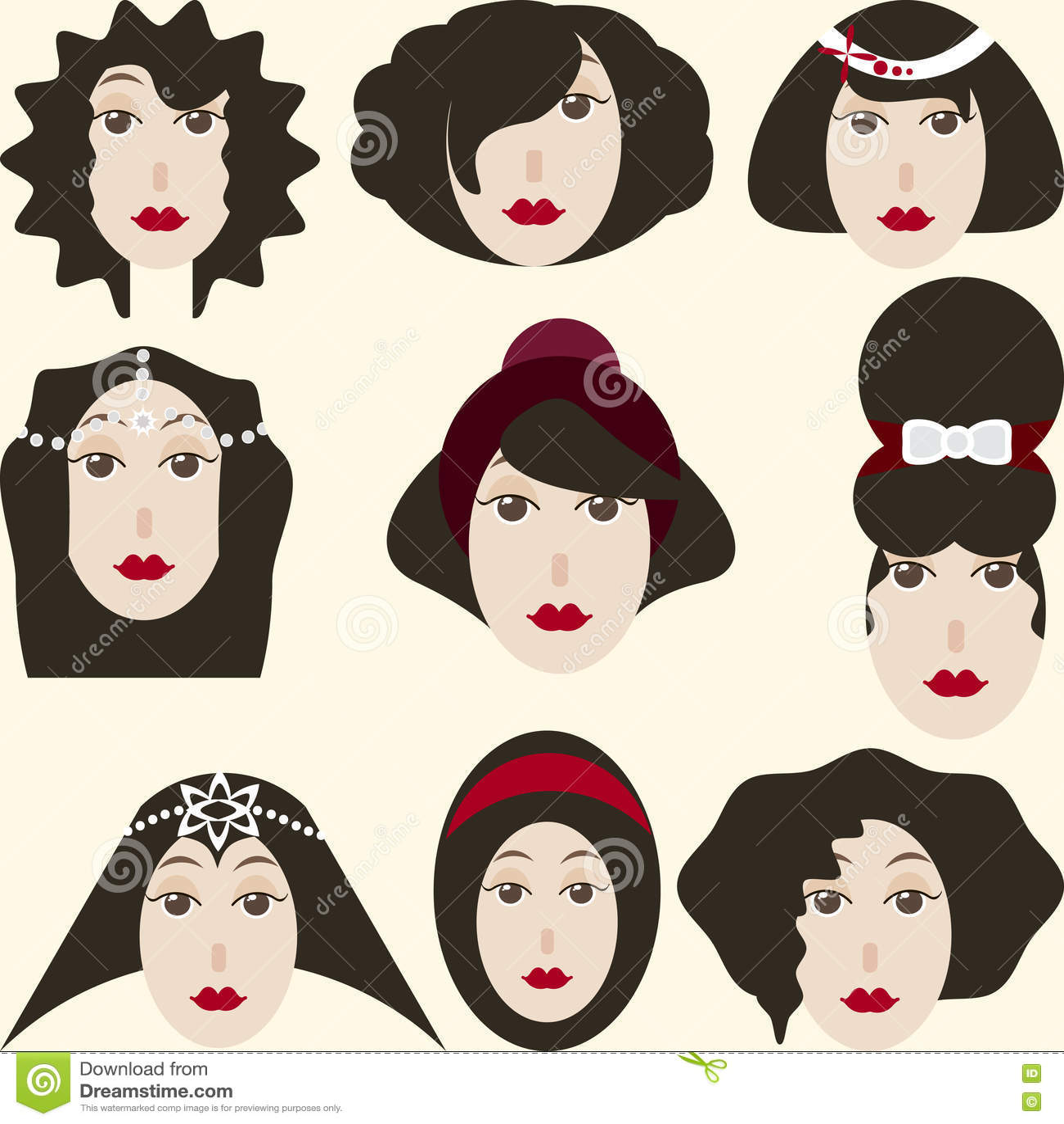 Retro illustration av kvinnas frisyr