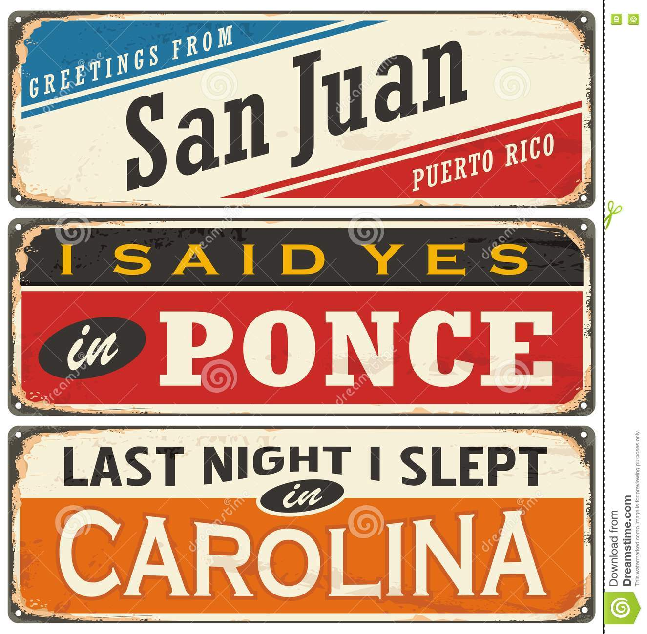 Retro illustration with Puerto Rico cities tin signs.