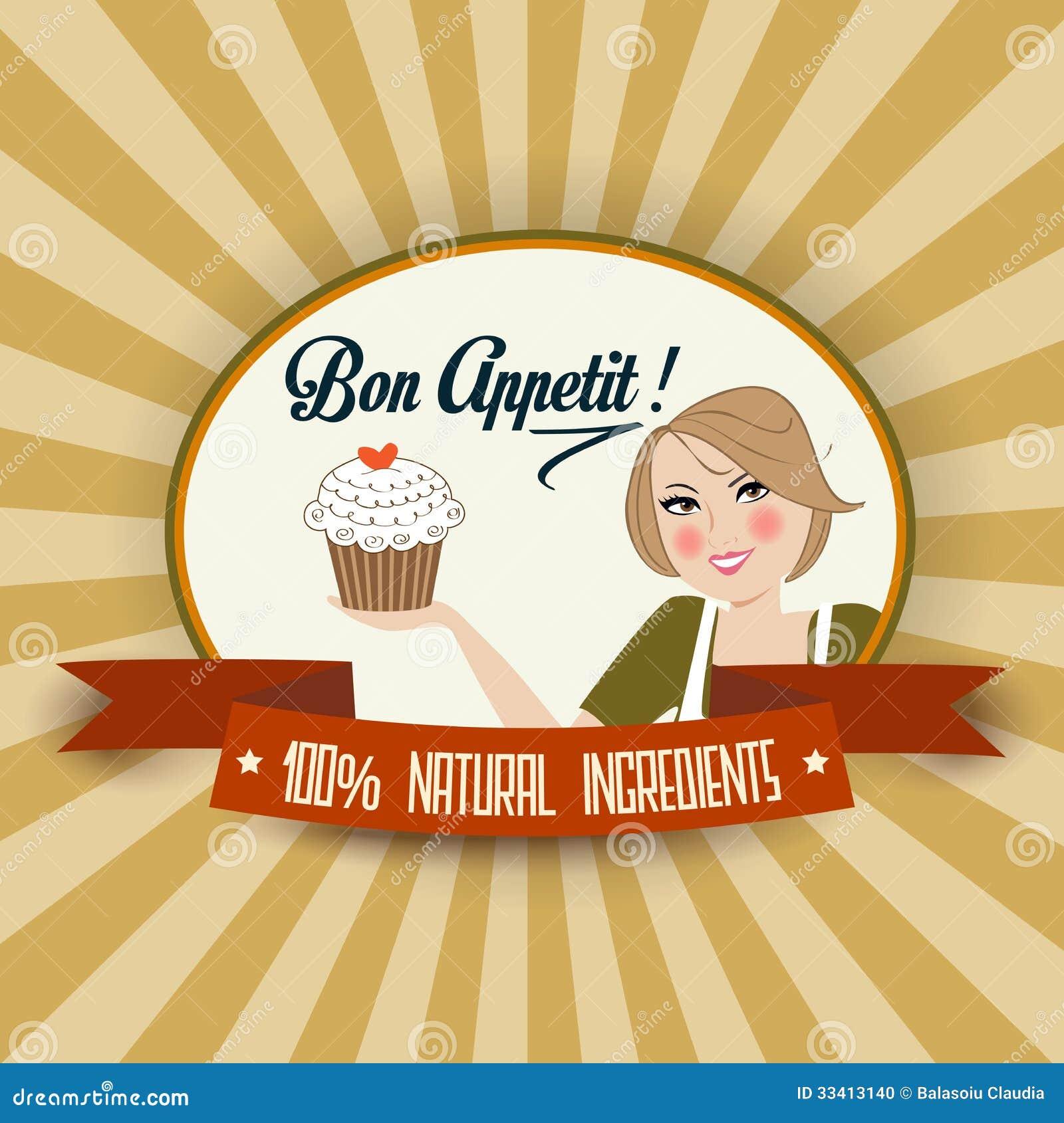 Retro illustrazione della moglie con il messaggio del appetit di Bon