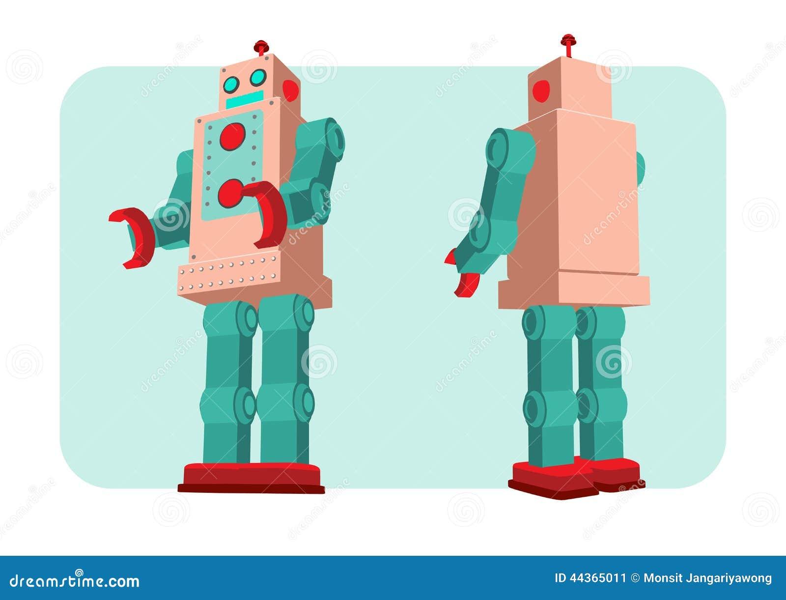 Retro illustrazione di vettore del robot