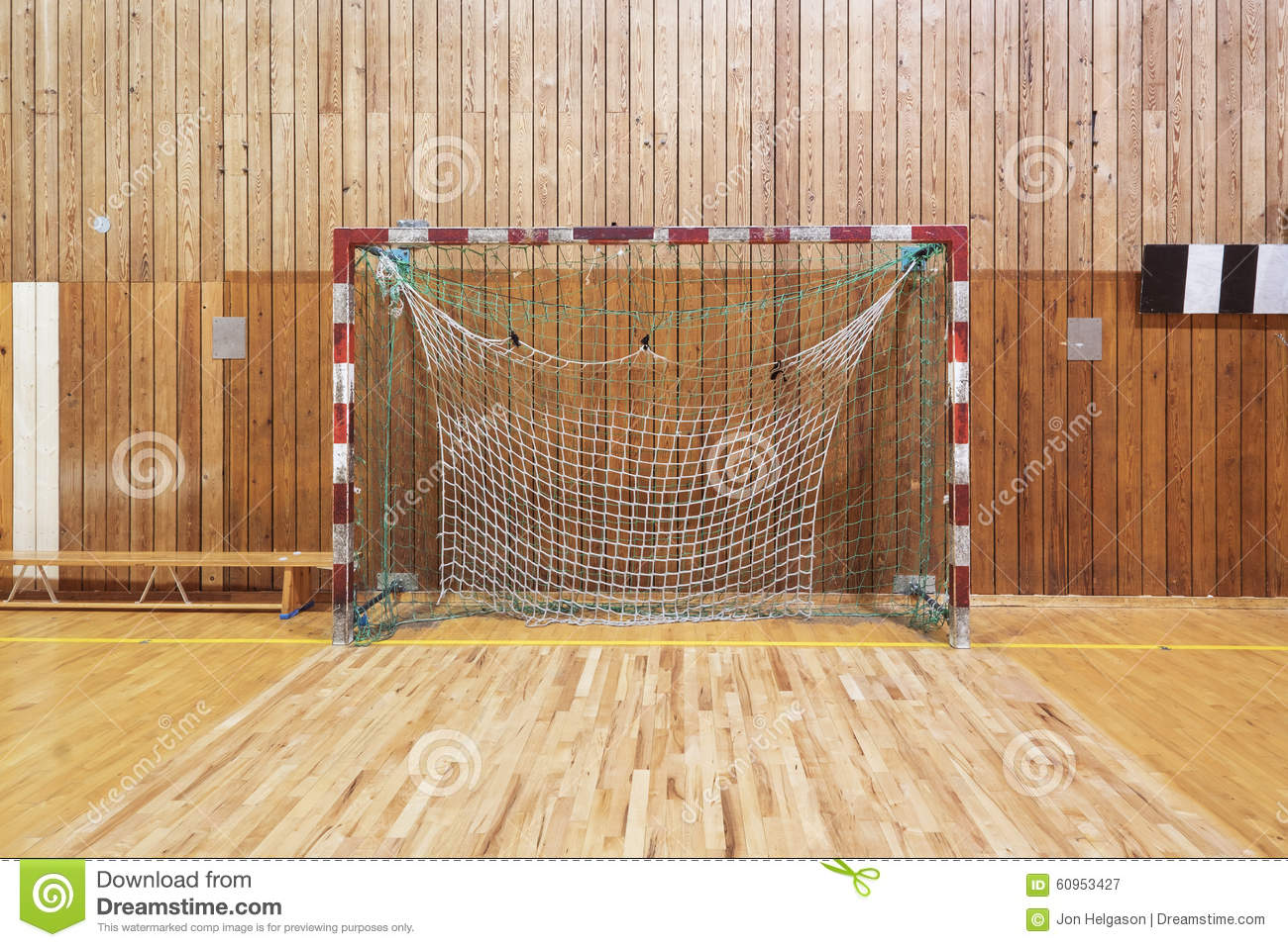 Retro indoor soccer goal stock image. Image of empty - 60953427