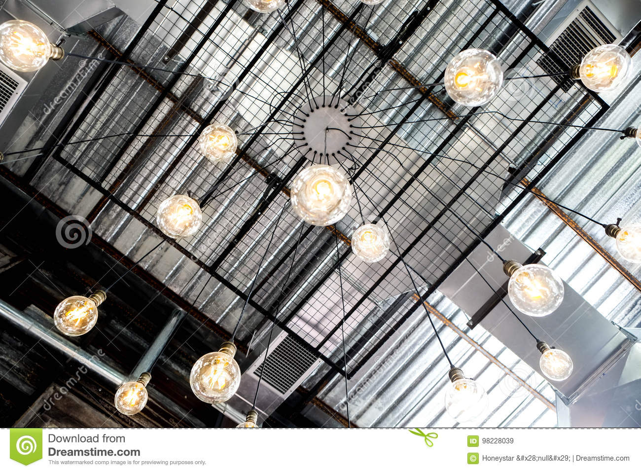 Retro Industrial Ceiling Yellow Bulb Lamp Stock Image Of Wiring A Light Fixture Black Wire