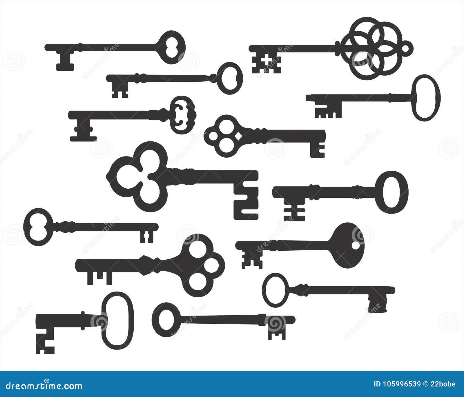 Retro insieme di vettore delle siluette di chiave