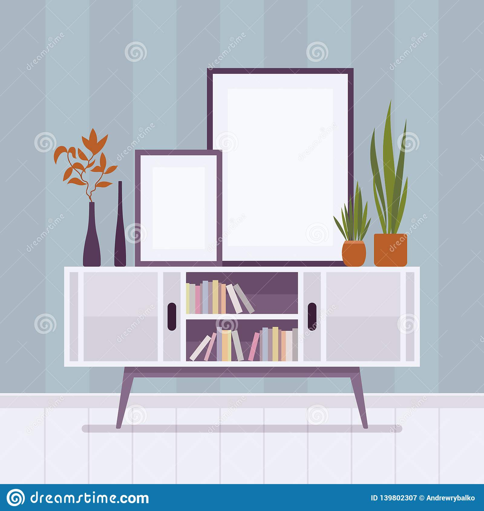 Retro Interior With Two Frames For Copyspace Stock Vector