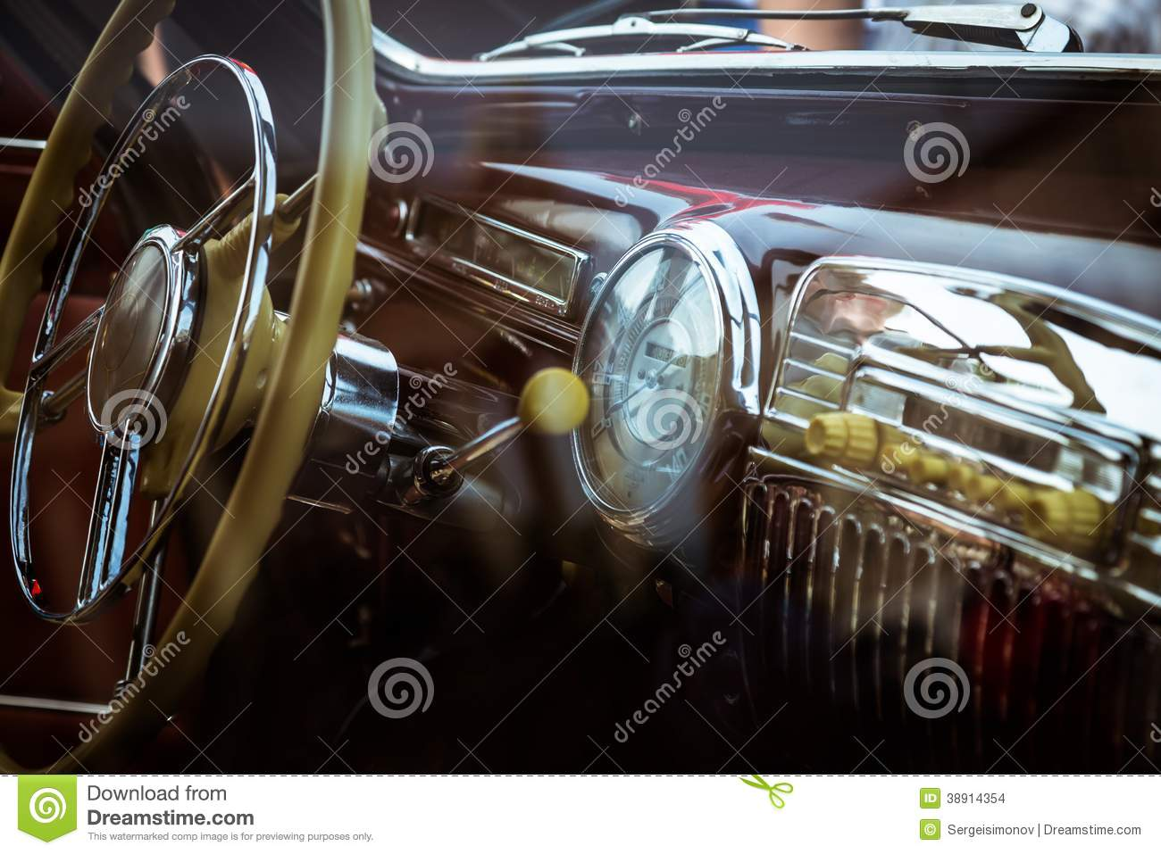 retro interior of vintage car stock photo image 38914354. Black Bedroom Furniture Sets. Home Design Ideas