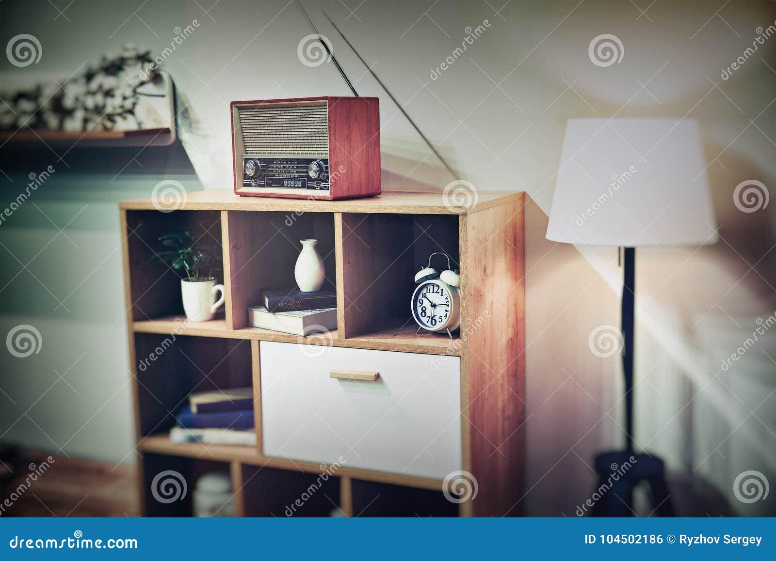 Retro interior with vintage radio