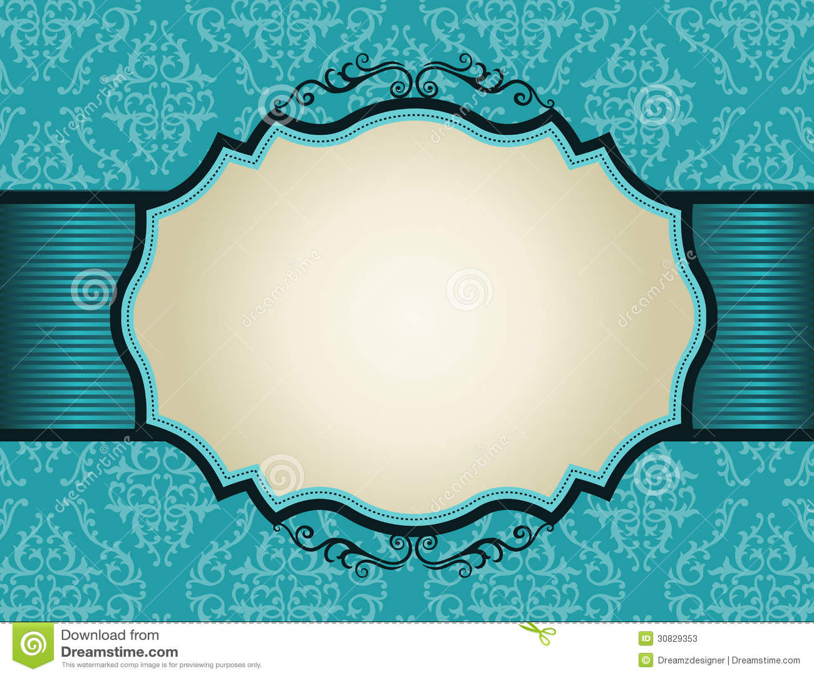 Retro Invitation Frame On Damask Pattern Backgroun Stock Photos - Image: 30829353