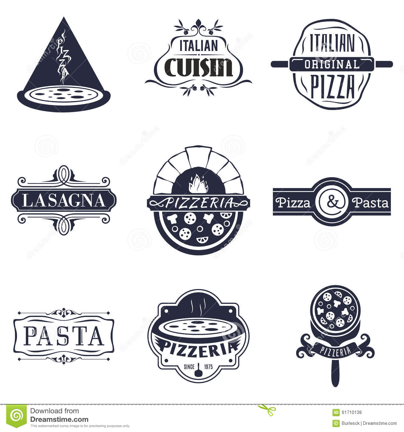 retro italian cuisine restaurant labels logos stock vector illustration of lunch logo 61710138. Black Bedroom Furniture Sets. Home Design Ideas