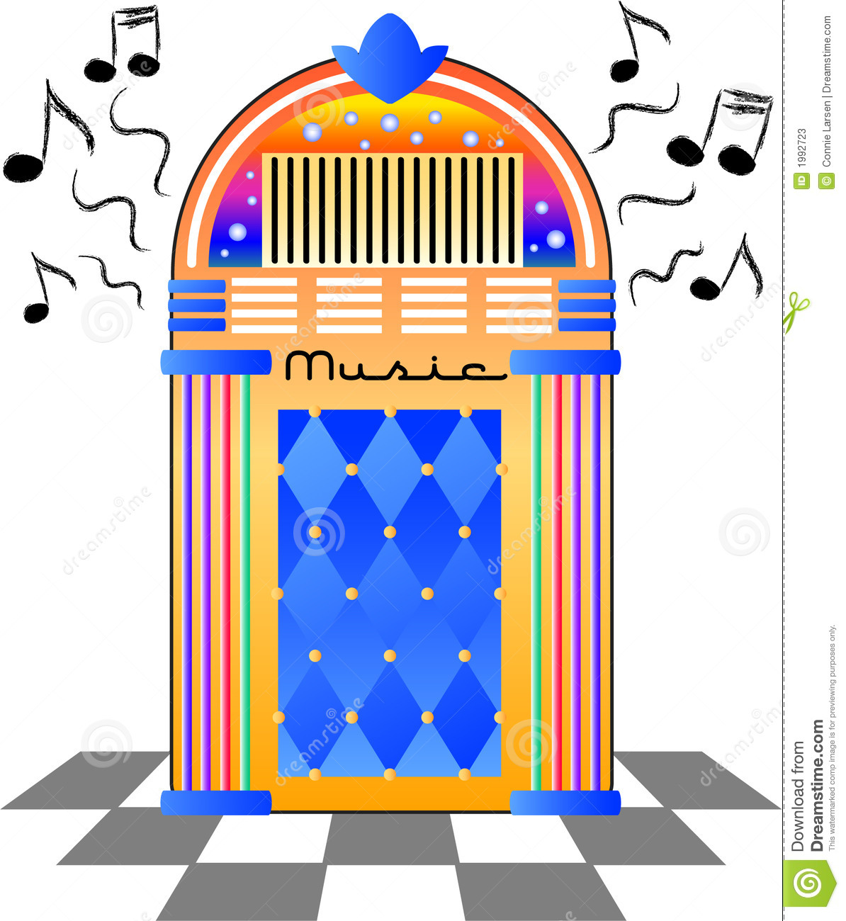 Brightly colored illustration of an old-fashioned music jukebox.