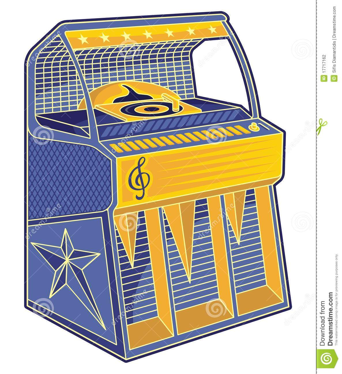 Line Art Jukebox : Retro jukebox lineart stock photography image