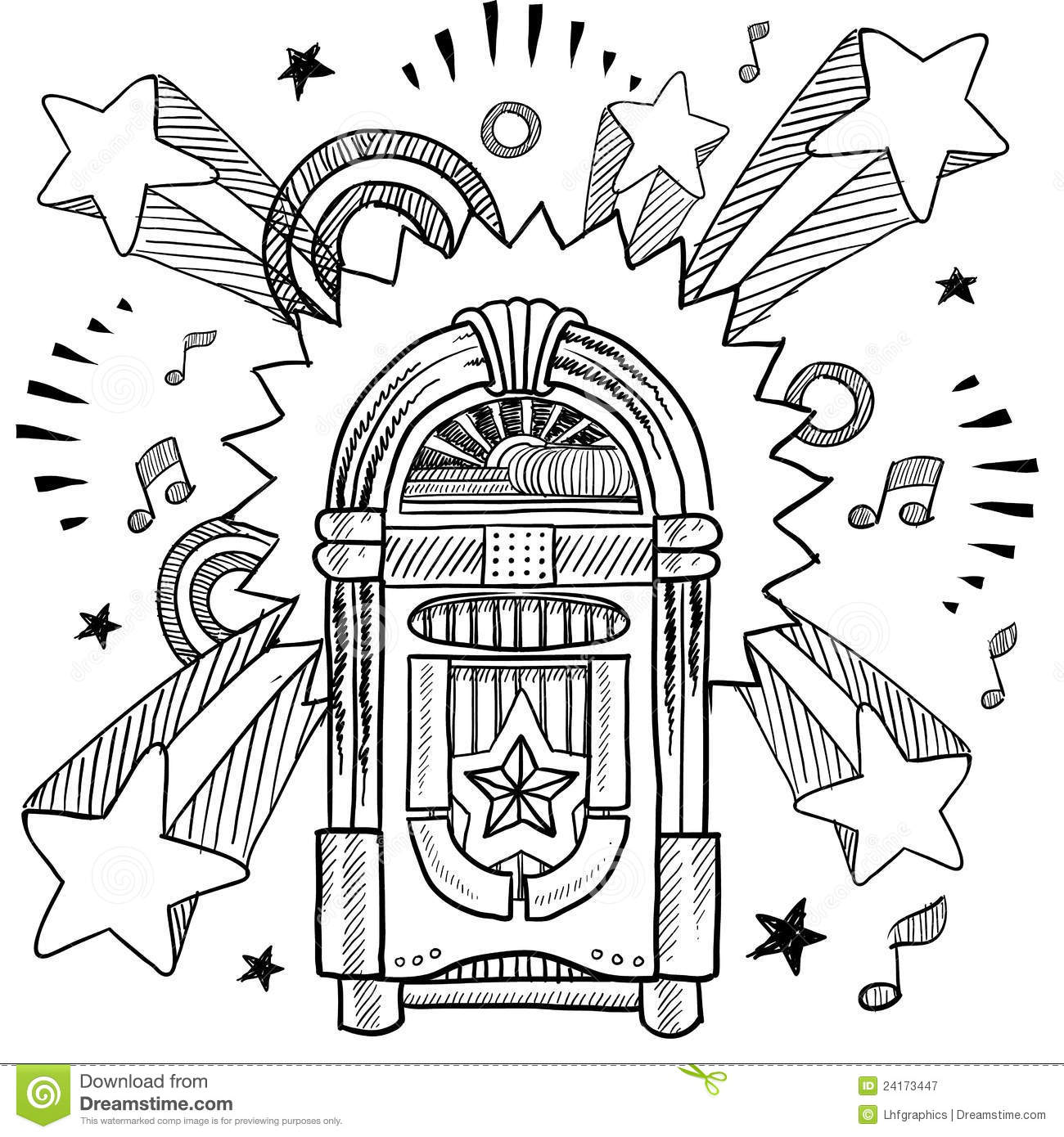 Retro Jukebox And Vinyl Lp Sketch Royalty Free Stock