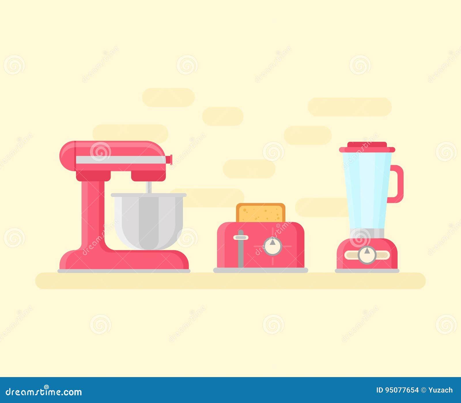 Retro kökapparater i plan stil