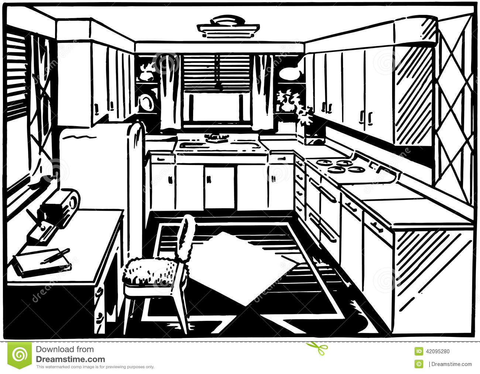 Retro K Che retro küche 2 vektor abbildung bild vorhänge kühlräume 42095280