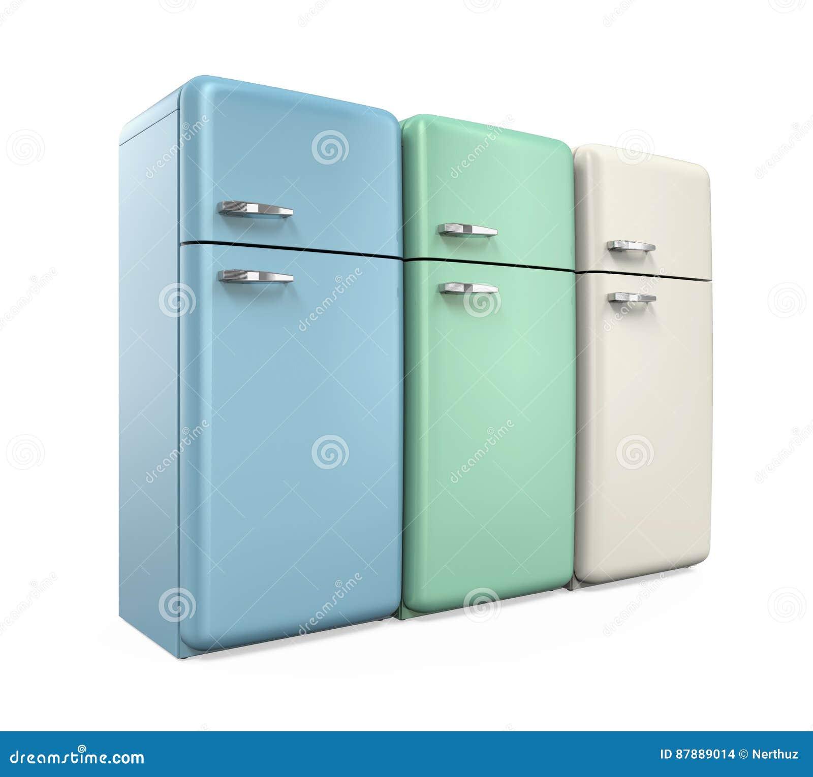 Retrokühlschränke  Retro- Kühlschränke Lokalisiert Stock Abbildung - Illustration von ...