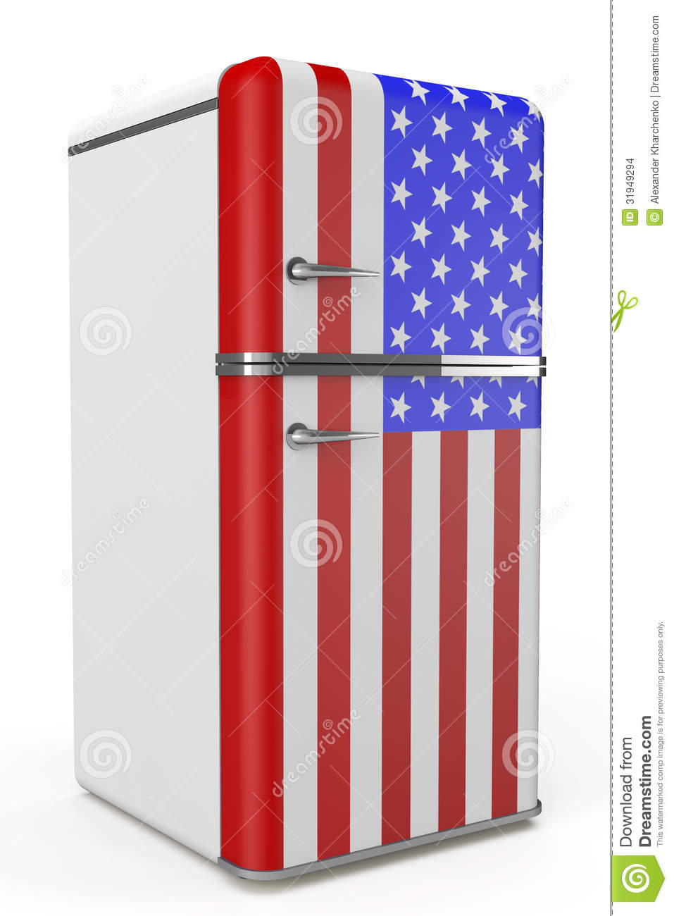 retro k hlschrank mit der usa flagge auf der t r stockbilder bild 31949294. Black Bedroom Furniture Sets. Home Design Ideas