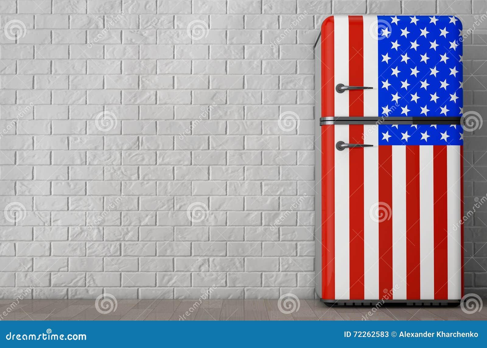 Retro Kühlschrank Usa : Retro kühlschrank mit der usa flagge wiedergabe d stock