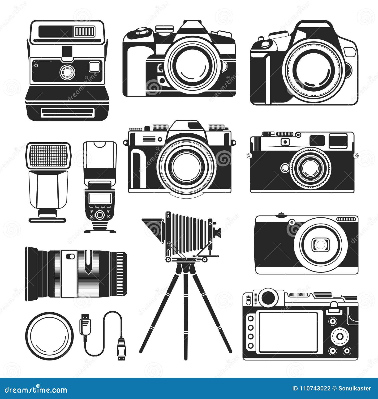 Retro kamera i fotografii wyposażenia wektor stary lub nowożytny, sylwetek ikony
