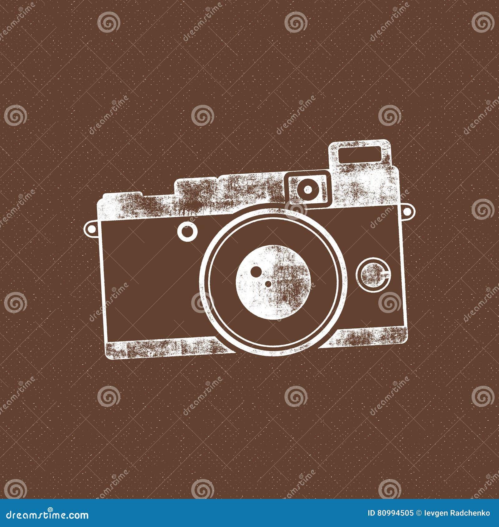 Retro kamery ikona Stary plakatowy szablon Odizolowywający na grunge halftone tle Fotografia rocznika projekt dla t koszula