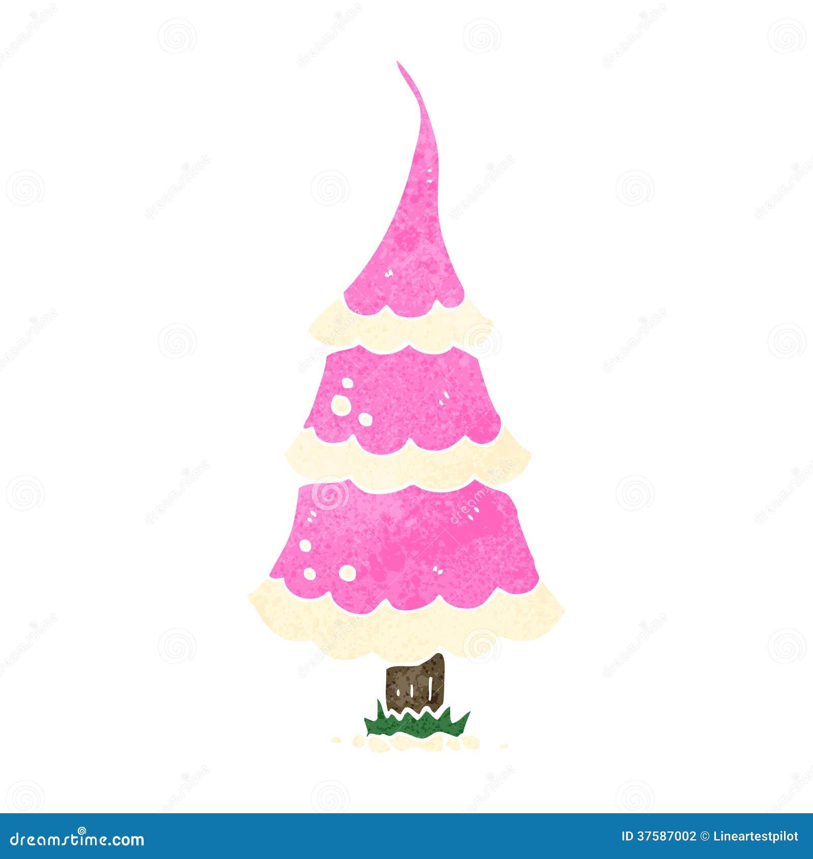 Rosa Weihnachtsbaum.Retro Karikatur Rosa Weihnachtsbaum Vektor Abbildung