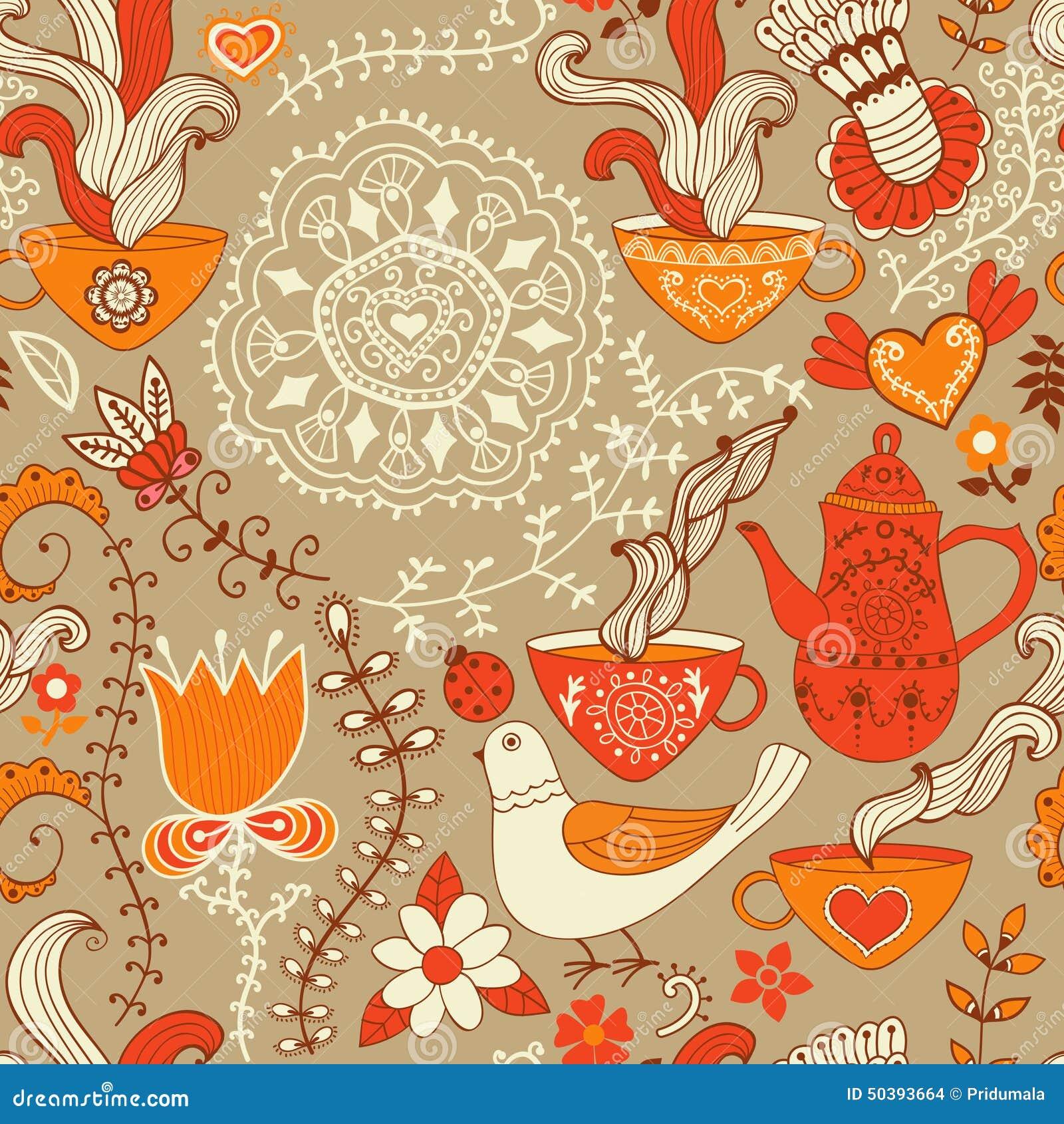 Retro kawowy bezszwowy wzór, herbaciany tło, tekstura z filiżankami