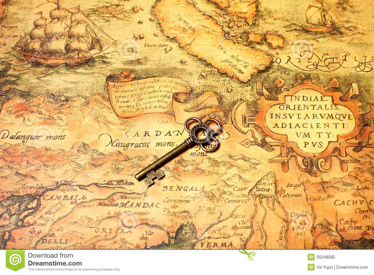 Retro Key With Map Royalty Free Stock Photo Image 35248085
