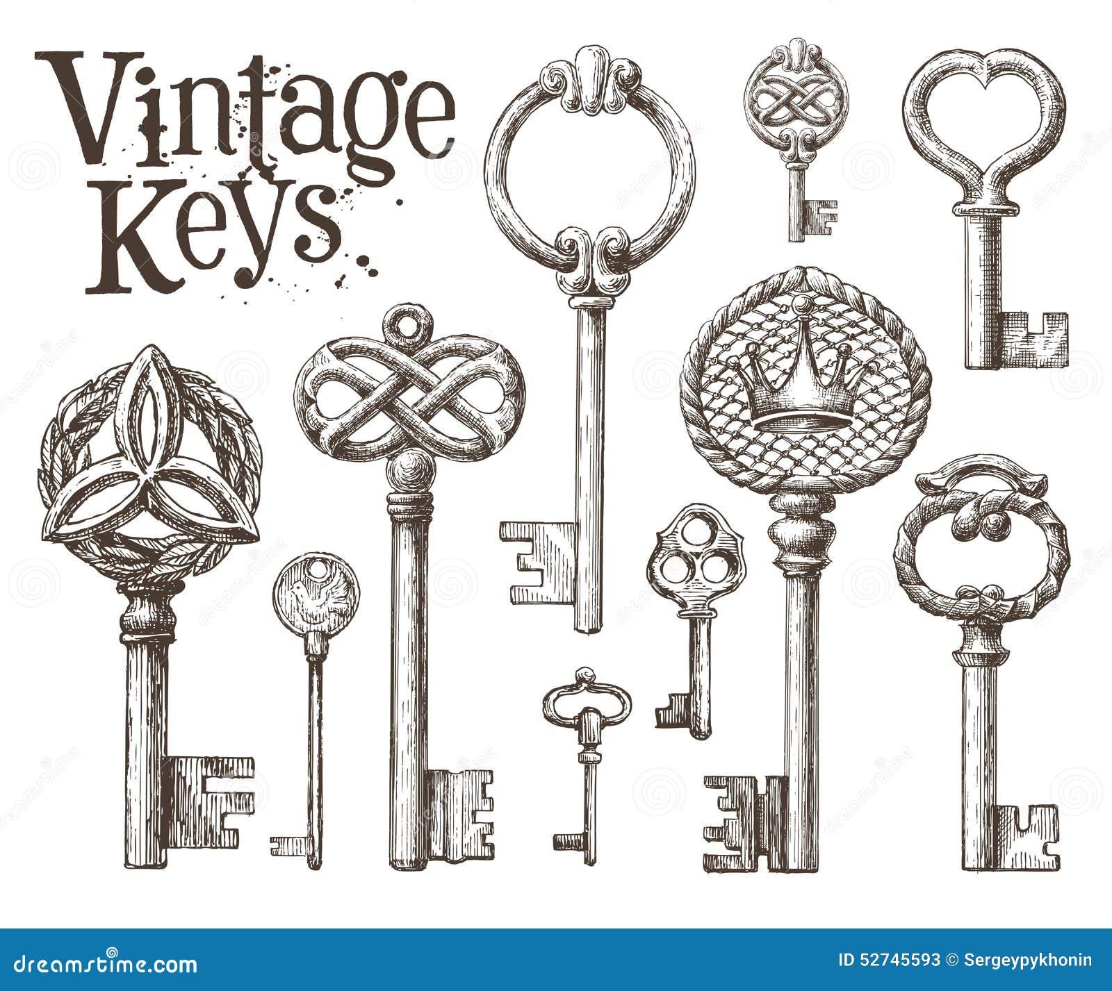 Vector Key Illustration: Retro Key Vector Logo Design Template. Antiques Or Stock