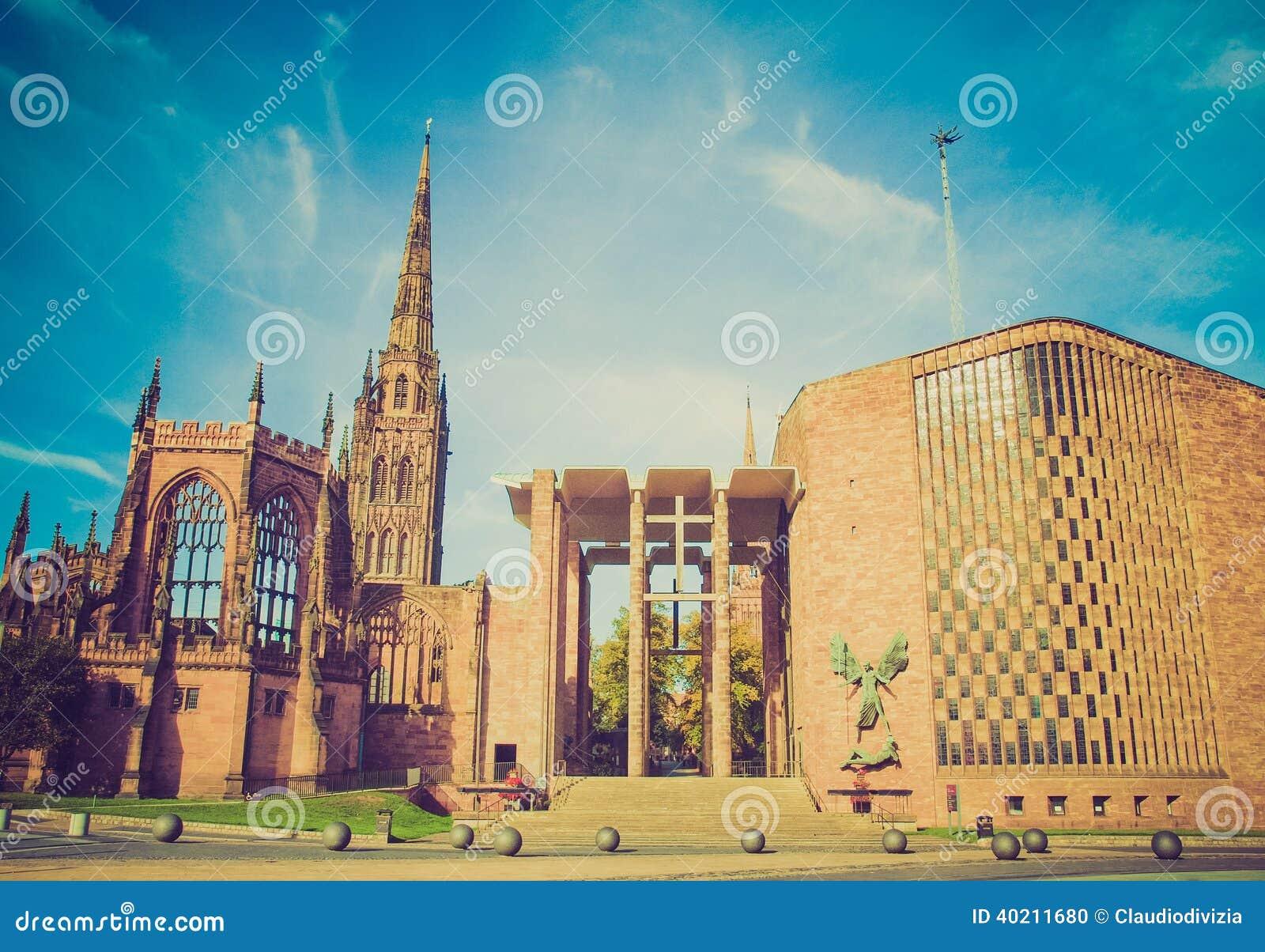 Retro kijk de Kathedraal van Coventry