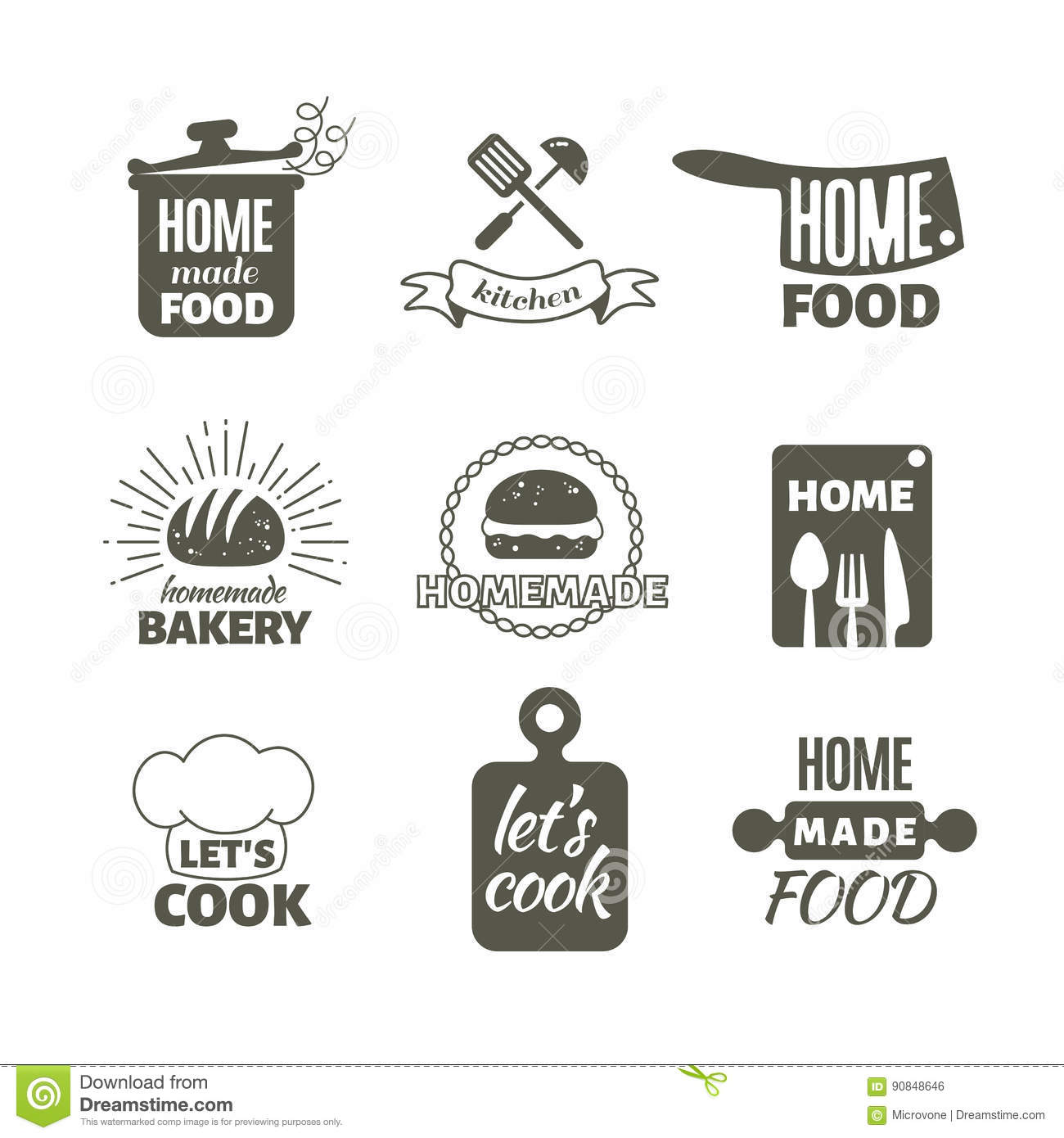 Home Kitchen Logo retro kitchen cooking at home and handmade vector badges and logos