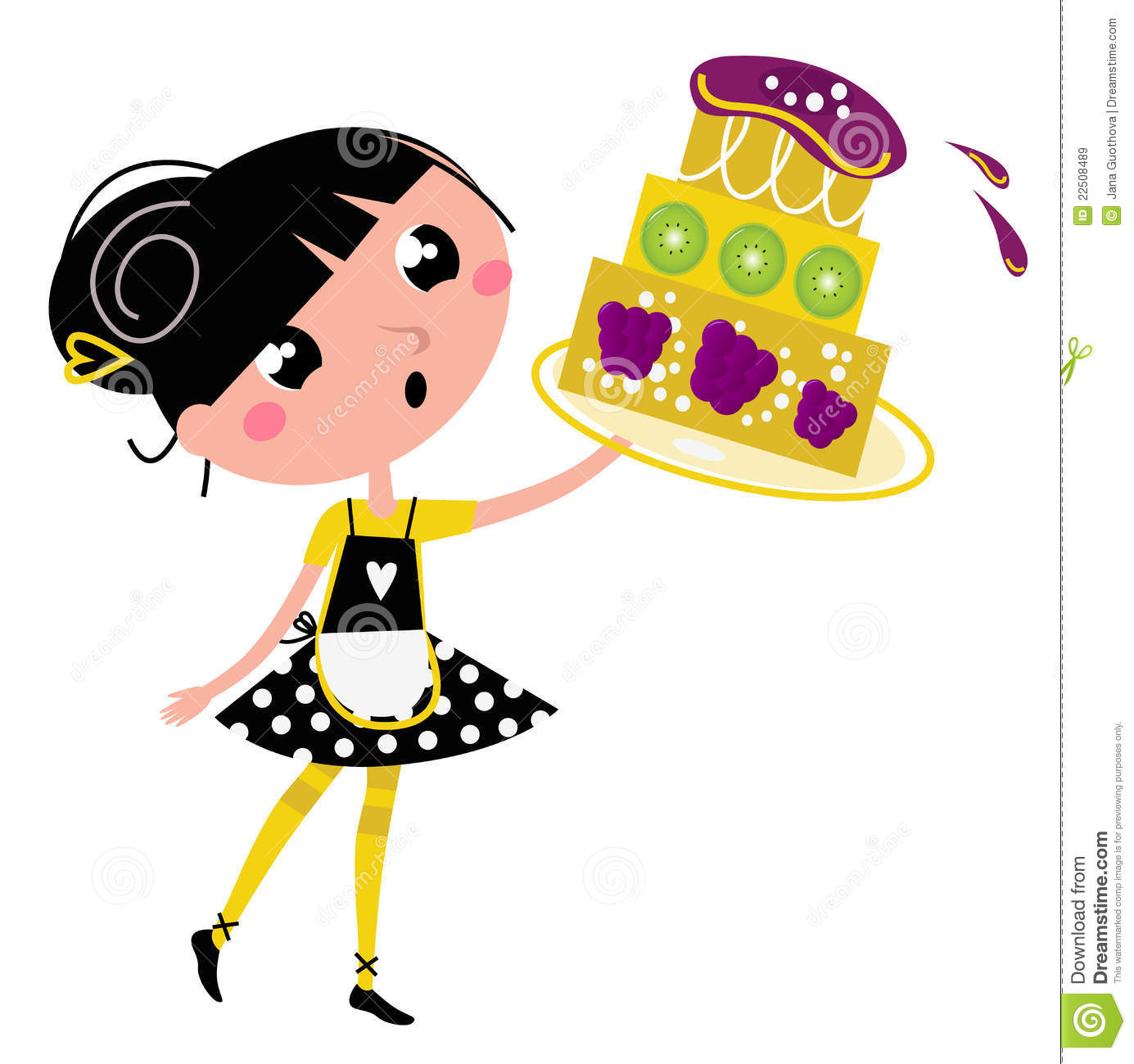 Retro Kitchen Girl With Big Fruity Cake Royalty Free Stock Images
