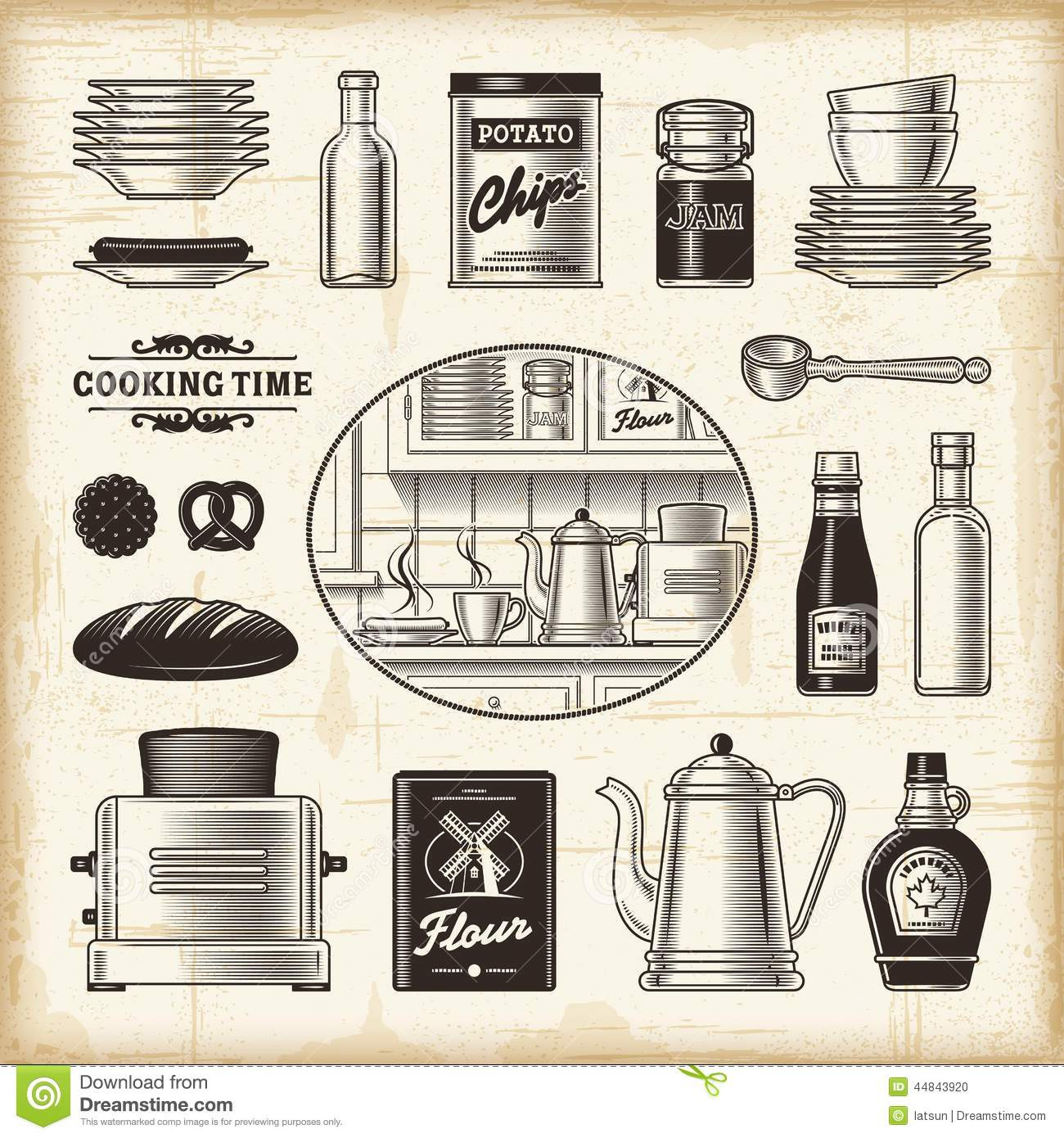 Retro Kitchen Set Stock Vector Image 44843920