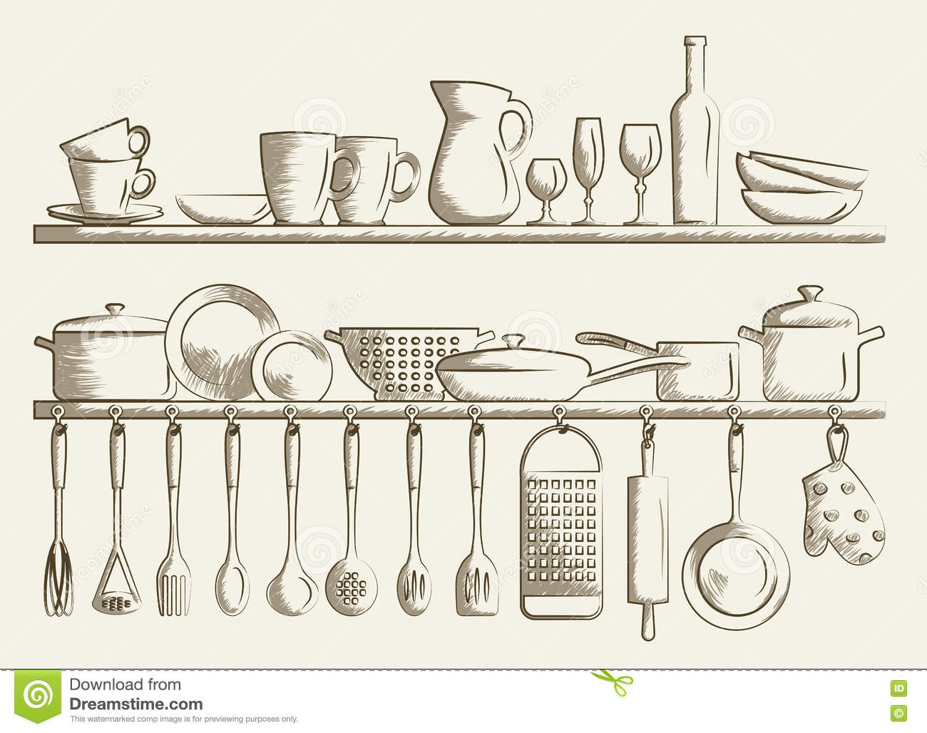 Retro Kitchen Shelves And Cooking Utensils Stock Vector