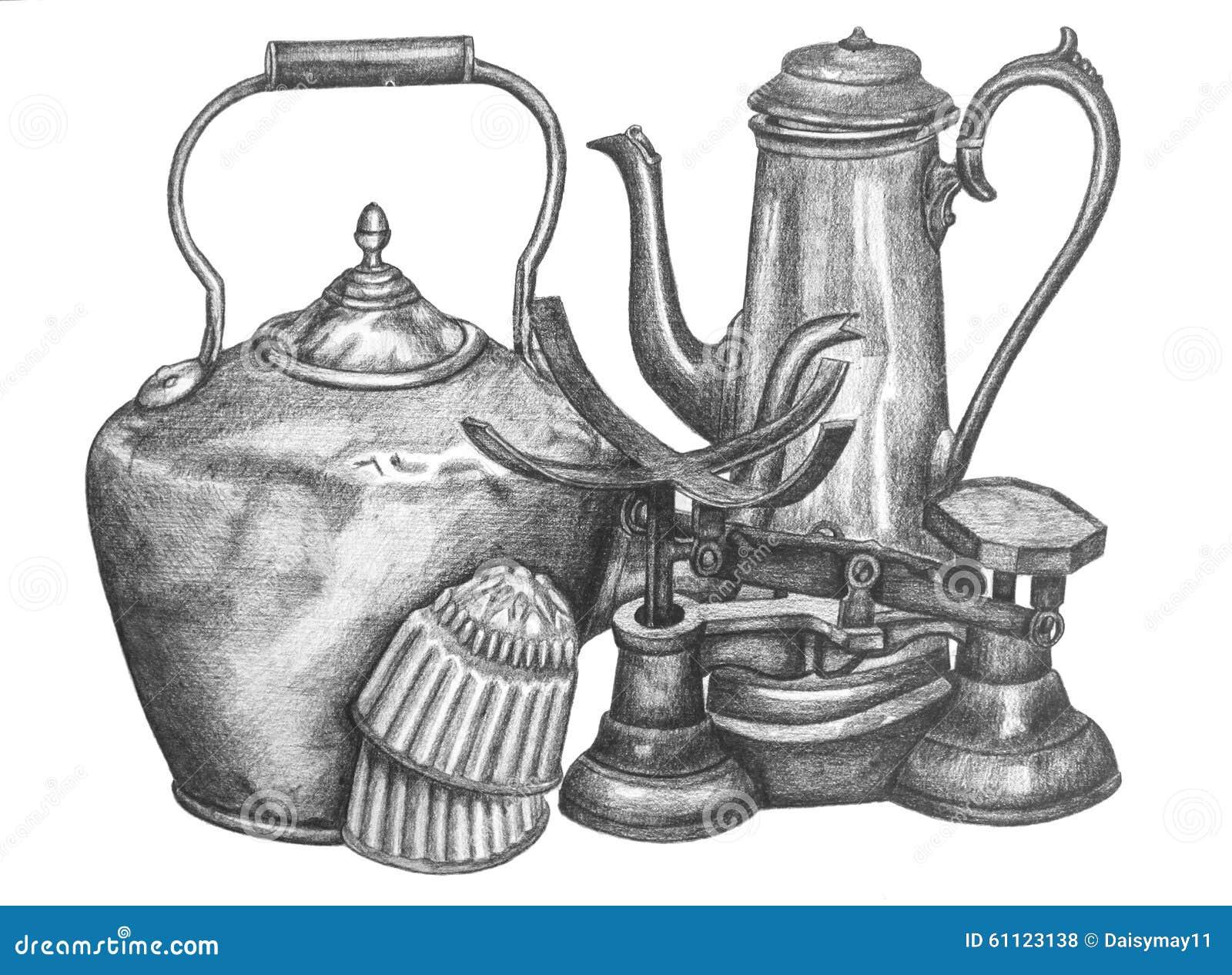 Vintage Kitchen Utensils Illustration Kitchen Utensils