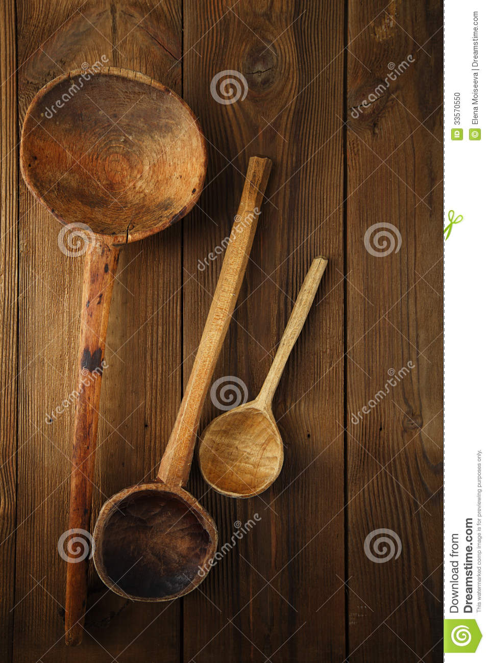 Retro Kitchen Utensils Wood Spoon On Old Wooden Table In