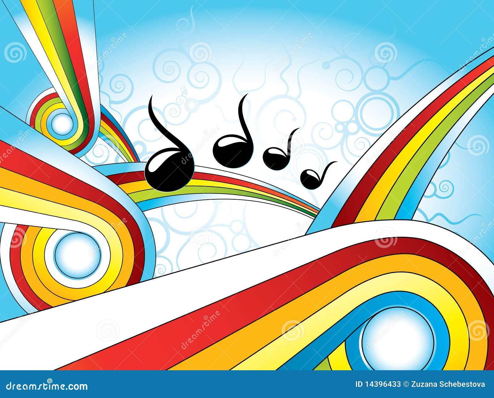 Retro kleurrijke behang van de muziek