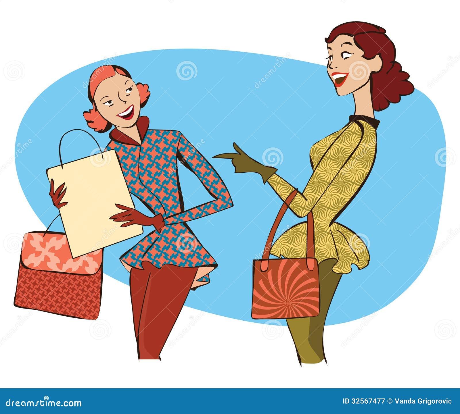 Retro kobiet robić zakupy