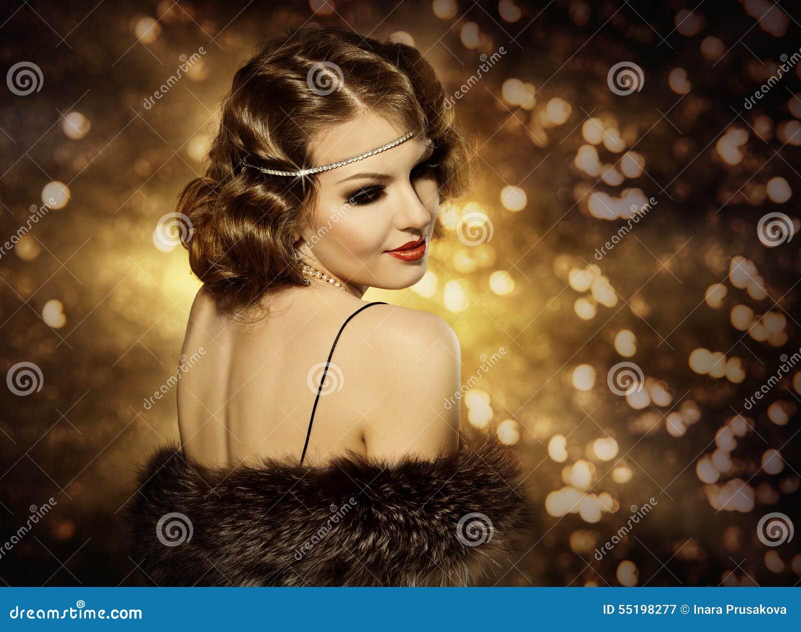 Retro kobiety fryzury portret i Makeup, moda modela dziewczyna