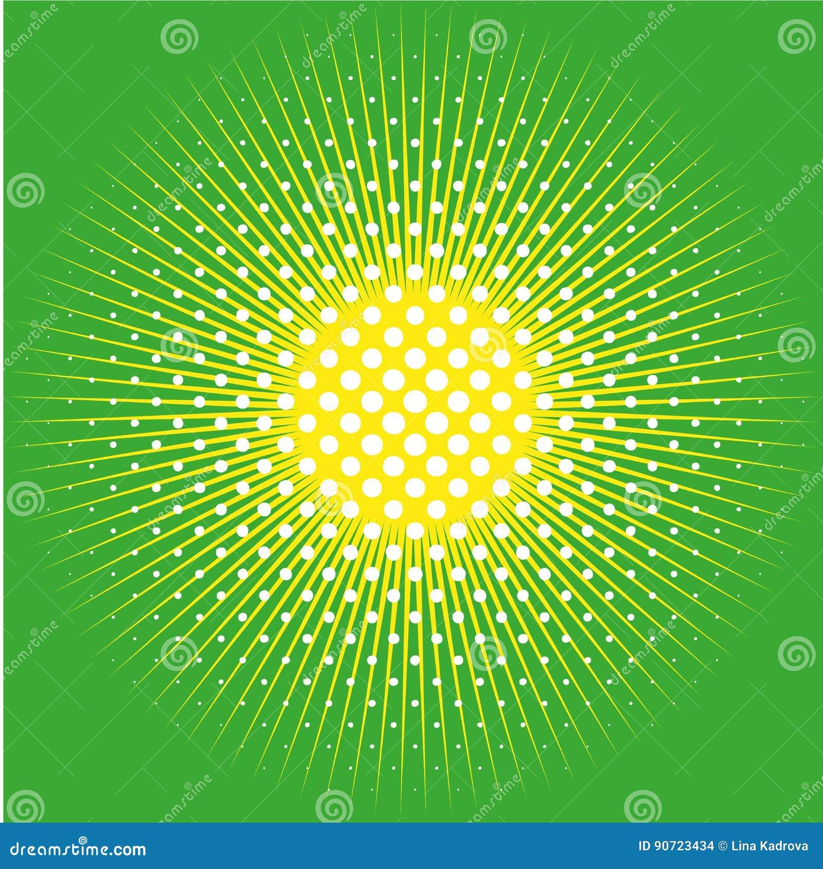 Retro komiczny tło kropkujący wystrzału halftone projekt i słońce na zieleni