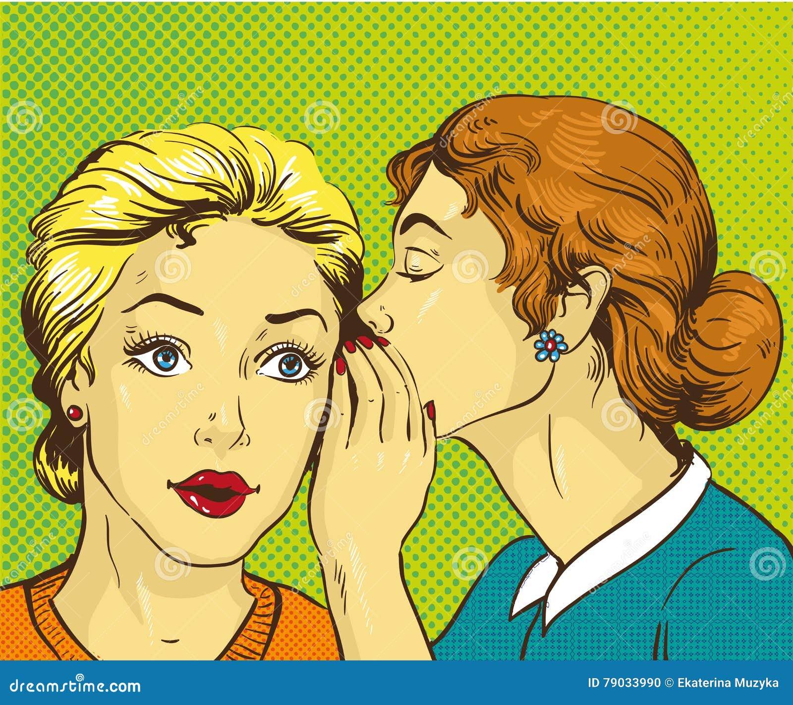 Retro- komische Vektorillustration der Pop-Art Frau, die Klatsch oder Geheimnis zu ihrem Freund flüstert