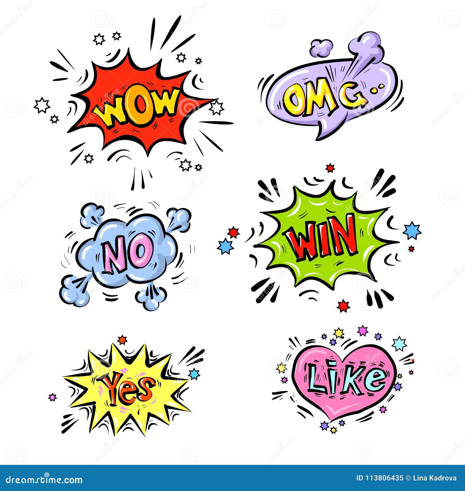 Retro komiska anförandebubblor ställde in med färgrika skuggor på vit bakgrund Ingen uttryckstext, OMG, ÖVERRASKAR, ja, SEGER, SO