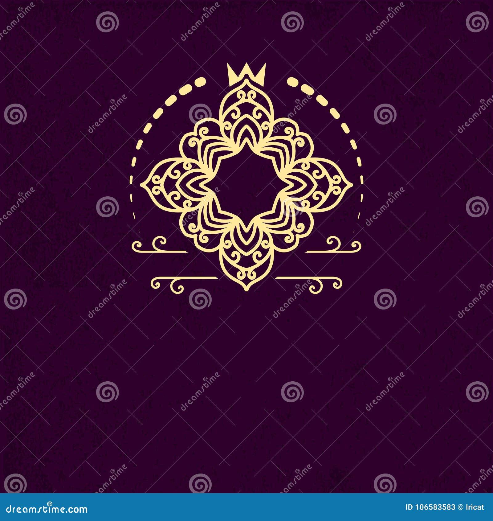 Retro kreatywnie monograma szablon z zawijasami ornamentuje rzeczy Projektuje element dla zaproszenia, zawiadomienie, broszurka w