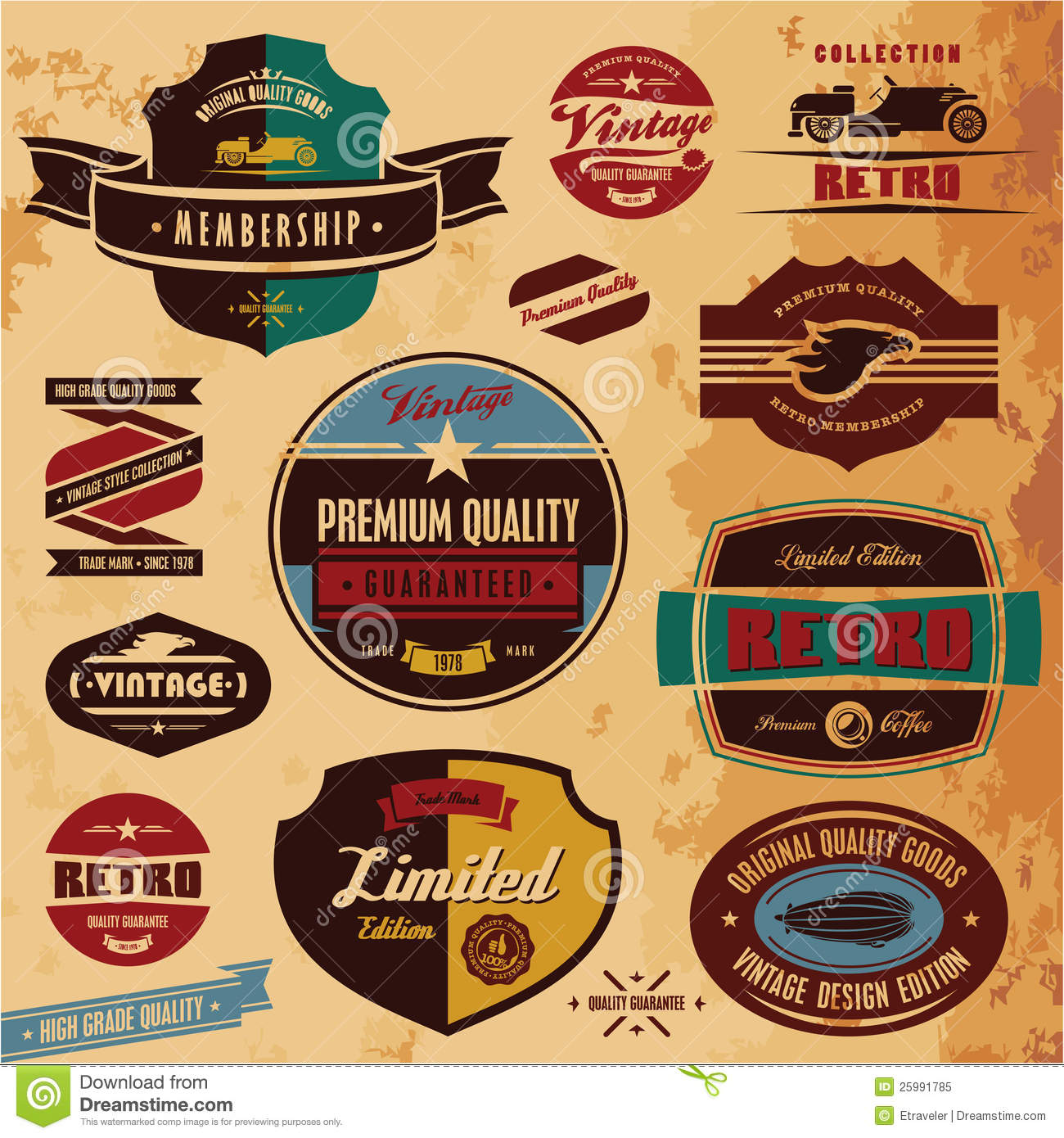 Retro labels and badges