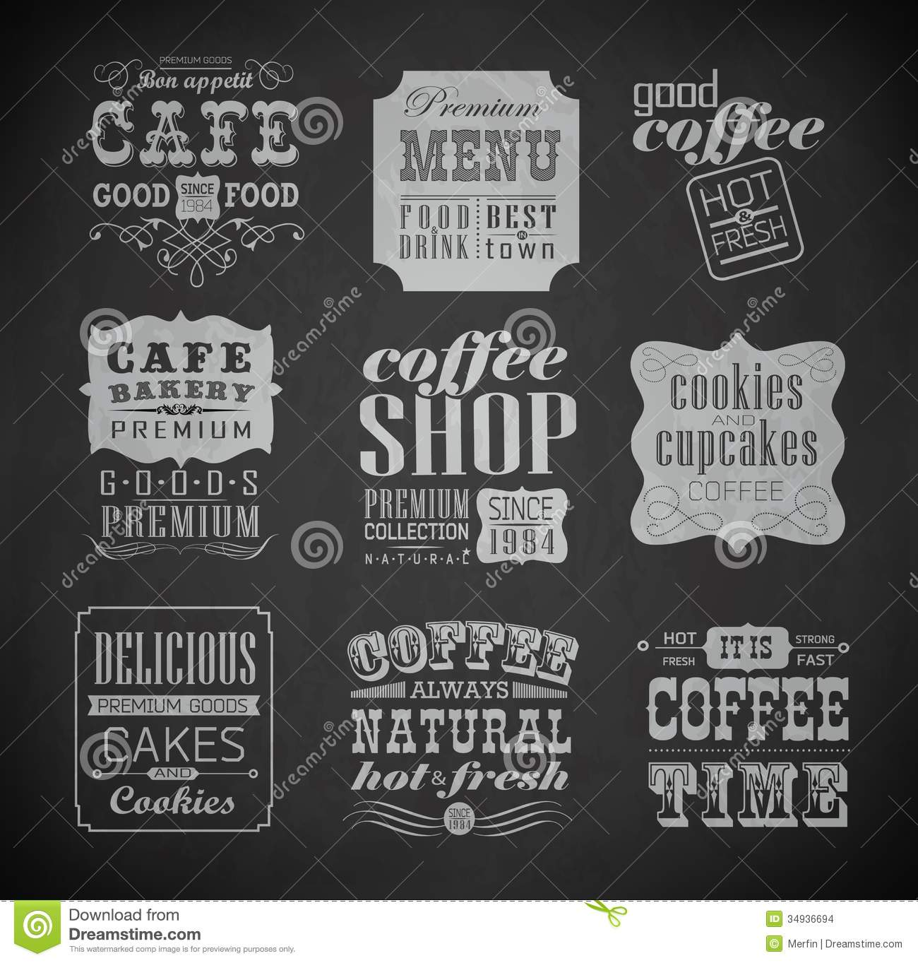 Retro bakery labels and typography, coffee shop, cafe, menu design ...