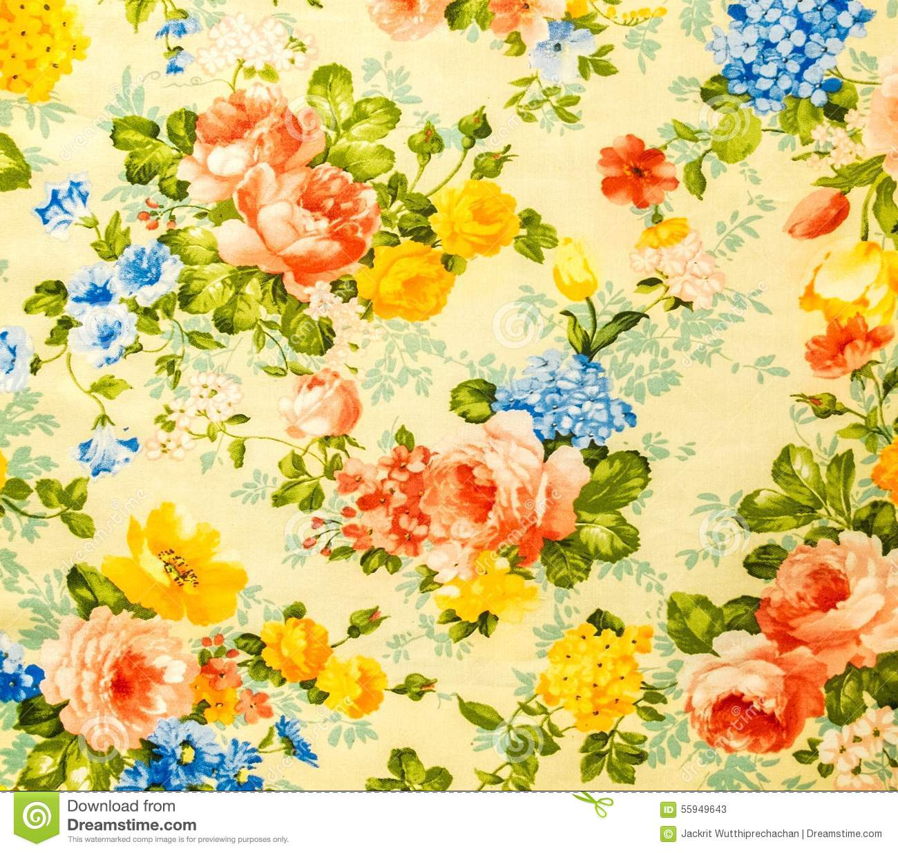 Retro Lace Floral Seamless Pattern On Yellow Tone Vintage