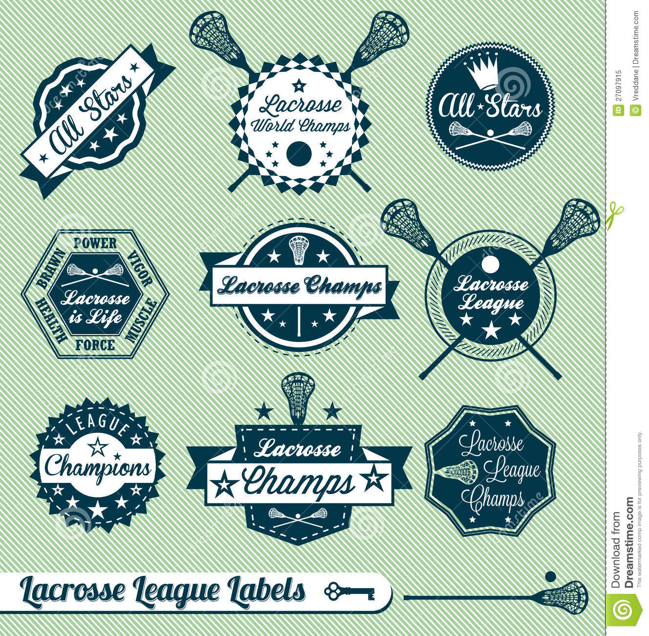 Retro Lacrosse League Labels And Stickers Royalty Free ...
