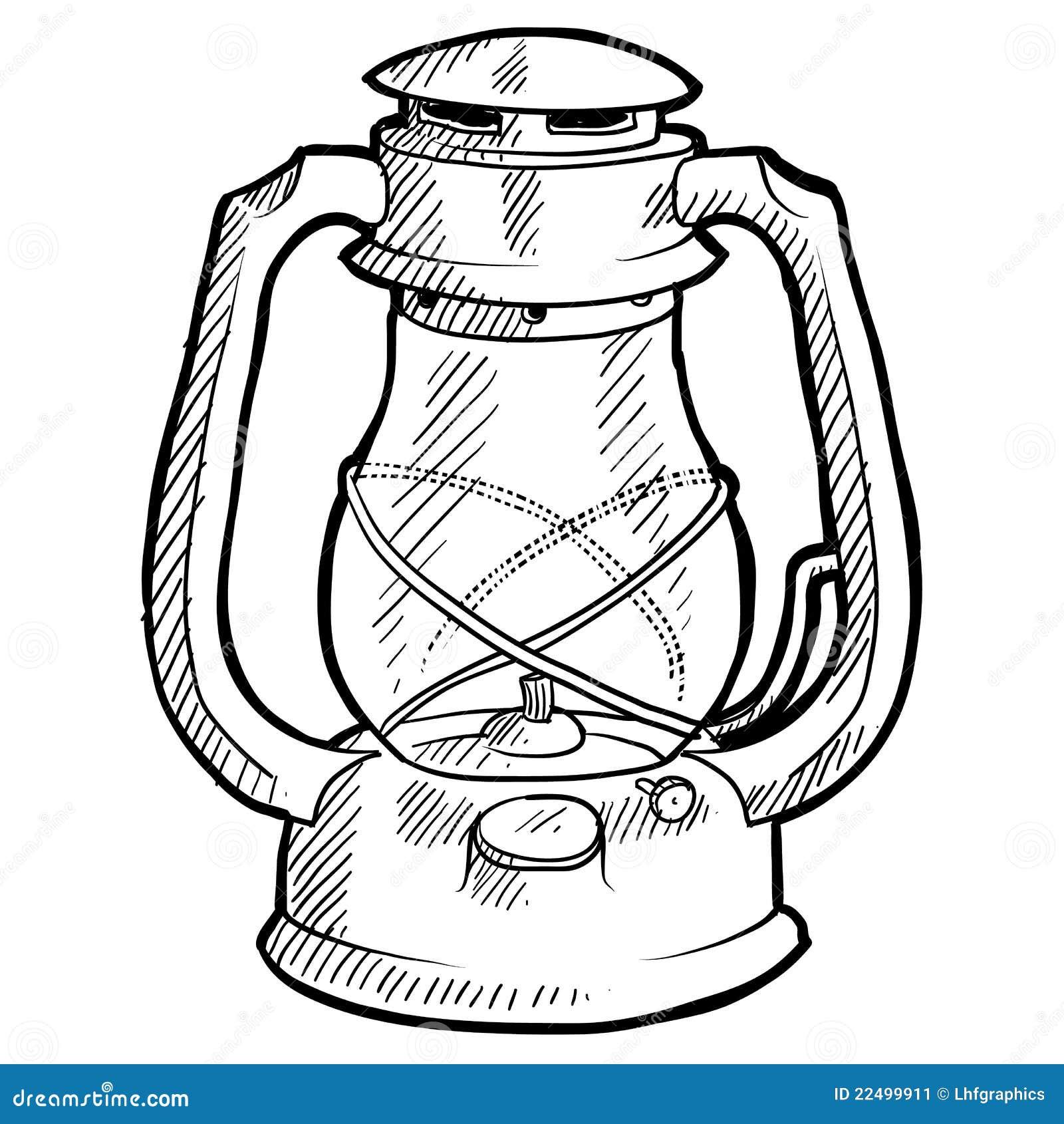 Retro Lantern Sketch Stock Vector Illustration Of Kerosene