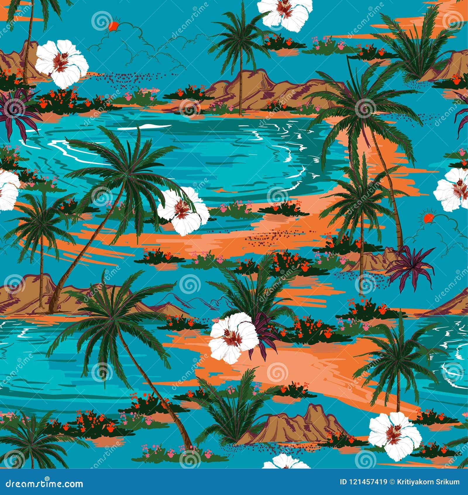 Retro lata Hawaii wyspy wzoru bezszwowy wektor Krajobrazowy w