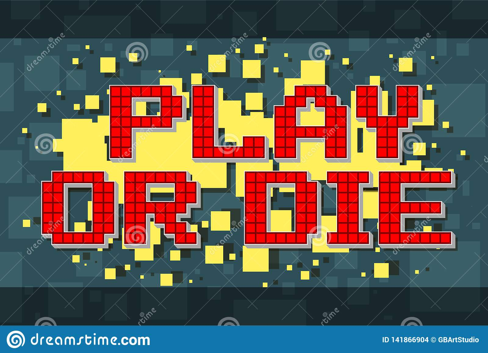 Retro lek för rött PIXEL eller att dö knappen för videospel